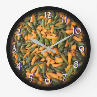 Turn Back the Time Backwards Clock-Chile Peppers Large Clock