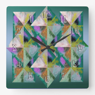 Turn Back Time Backwards Clock-Prisms Patchwork Wall Clock