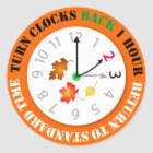 Turn Clocks Back 1 Hour Time Change Reminder Classic Round Sticker