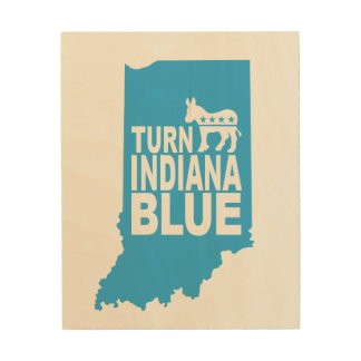 Turn Indiana Blue Wood Wall Art | Vote Progress! Wood Canvases