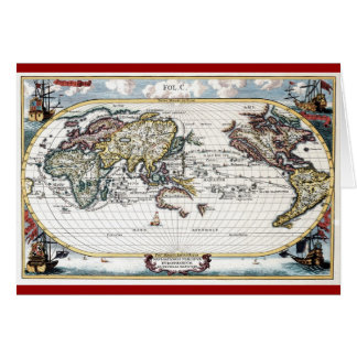 Turn of the 18th century world map card