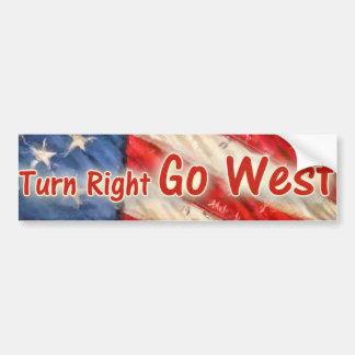 Turn Right Go West Bumper Sticker