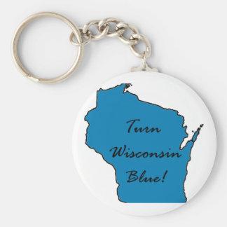 Turn Wisconsin Blue! Democratic Pride! Keychain