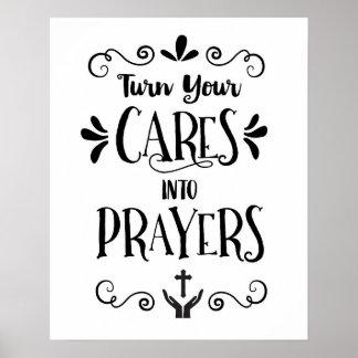 Turn your Cares into Prayers Art Print