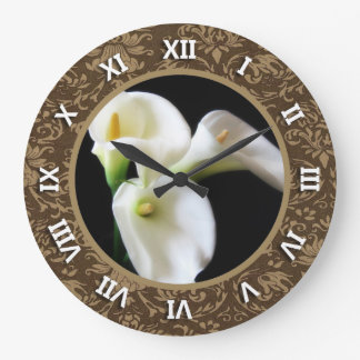 Turned Roman Numerals Round Clock with Calla Lilly