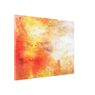 Turner Sun Setting Over A Lake Abstract Landscape Canvas Print