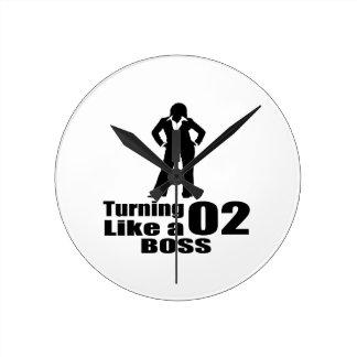 Turning 02 Like A Boss Round Clock