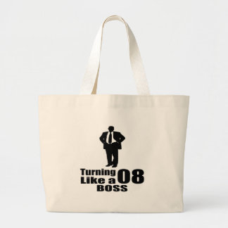 Turning 08 Like A Boss Large Tote Bag