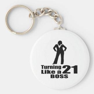 Turning 21 Like A Boss Keychain
