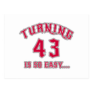 Turning 43 Is So Easy Birthday Postcard