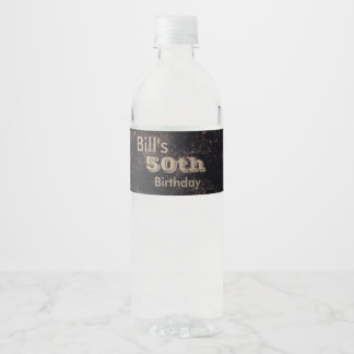 Turning 50 Birthday Black and Brown Water Bottle Label
