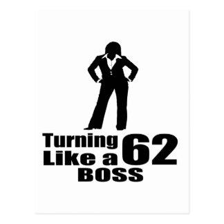 Turning 62 Like A Boss Postcard