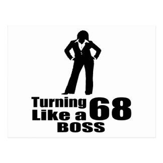 Turning 68 Like A Boss Postcard