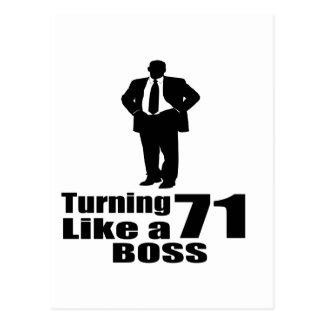 Turning 71 Like A Boss Postcard