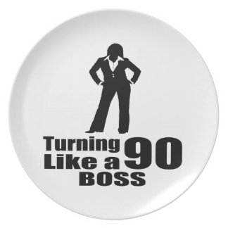 Turning 90 Like A Boss Dinner Plate