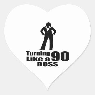 Turning 90 Like A Boss Heart Sticker