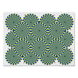 Turning Wheels Optical Illusion Green Hypnotize Poster