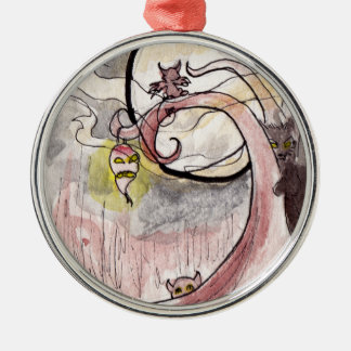 Turnip Lantern and Cat Demons Silver-Colored Round Ornament