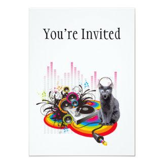 """Turntable DJ Pumpin Music Cat 5"""" X 7"""" Invitation Card"""