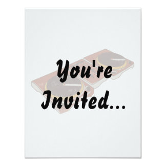 """Turntable Double DJ Grunged Graphic 4.25"""" X 5.5"""" Invitation Card"""