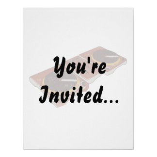 Turntable Double DJ Grunged Graphic Personalized Invite