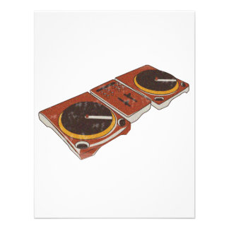 Turntable Double DJ Grunged Graphic Personalized Announcement