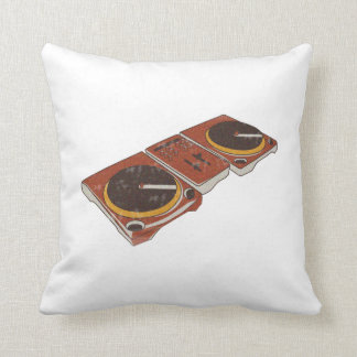 Turntable Double DJ Grunged Graphic Throw Pillow