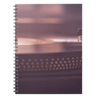 Turntable Music Record Vinyl Equipment Black Spiral Notebook