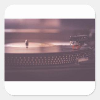 Turntable Music Record Vinyl Equipment Black Square Sticker