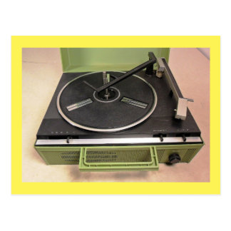 Turntable Record Player Retro Tech Postcard