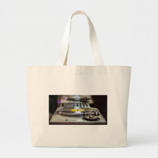 Turntable Record Vinyl Music Sound Retro Vintage Large Tote Bag
