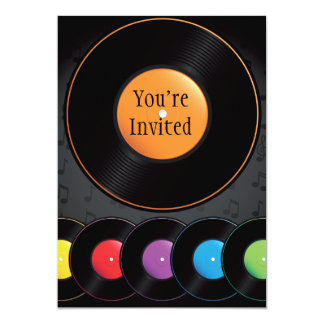 "Turntable Records In Vivid Colors 5"" X 7"" Invitation Card"