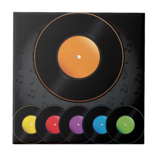 Turntable Records In Vivid Colors Tile