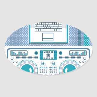 Turntable with Laptop DJ equipment Vector Oval Sticker