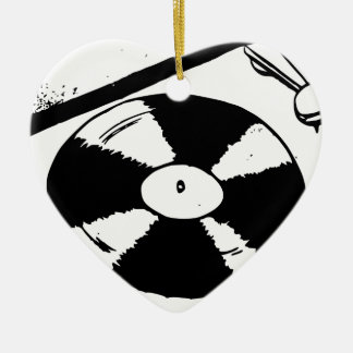 Turntable With Vinyl Record Ceramic Ornament