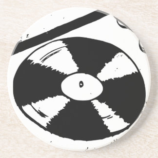 Turntable With Vinyl Record Coaster