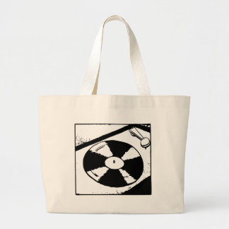 Turntable With Vinyl Record Large Tote Bag