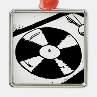 Turntable With Vinyl Record Metal Ornament