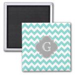 Turq / Aqua White Chevron Grey Quatrefoil Monogram Square Magnet