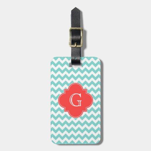 Turq / Aqua Wht Chevron Coral Quatrefoil Monogram Bag Tag