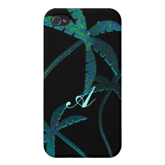 Turqoise Opal Sparkle Palm Trees on Black 4 Covers For iPhone 4