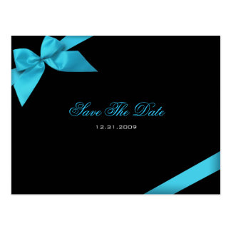 Turqoise Ribbon Wedding Invitation Save the Date Postcard