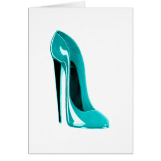 Turqoise Stiletto Shoe Card