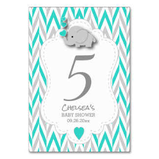 Turquiose and Gray Chevron Elephant - Table Card