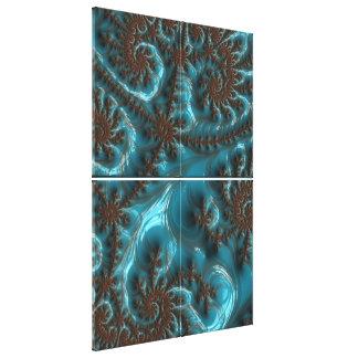 Turquiose Coffee Elegant Fractal Art Quad Canvas Stretched Canvas Prints