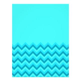 Turquiose Zig Zag Pattern. Part Plain. Flyer