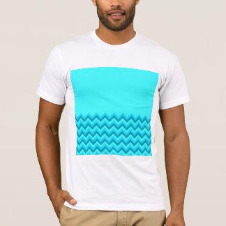 Turquiose Zig Zag Pattern. Part Plain. T-Shirt