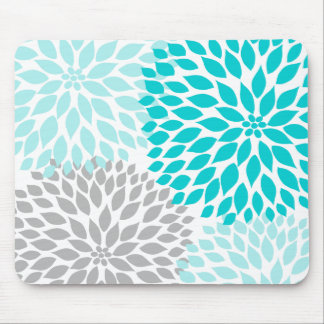 Turquoie blue gray dahlia desk office accessory mouse pad