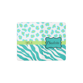 Turquoie Teal Green White Zebra Leopard Skin Name Pocket Moleskine Notebook Cover With Notebook