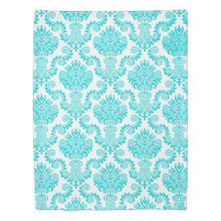 Turquois and White Damask Pattern{pick your color} Duvet Cover